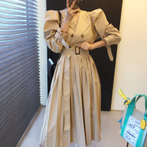 Dress Winter 2020 Khaki, black Average size longuette singleton  Long sleeves commute other Solid color double-breasted Others 18-24 years old Other / other Korean version 71% (inclusive) - 80% (inclusive)