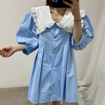 Dress Summer 2021 Blue, yellow, black Average size three quarter sleeve commute Doll Collar puff sleeve 18-24 years old Other / other Korean version 51% (inclusive) - 70% (inclusive)