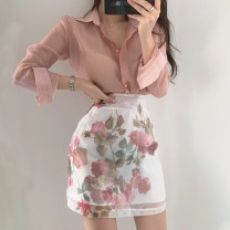 Fashion suit Spring 2020 S, M Pink shirt, white skirt, black shirt, black skirt Other / other 81% (inclusive) - 90% (inclusive) polyester fiber