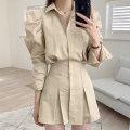Dress Spring 2021 Black, khaki, white Average size Short skirt singleton  Long sleeves commute V-neck Solid color Socket puff sleeve 18-24 years old Other / other Korean version Splicing 51% (inclusive) - 70% (inclusive)