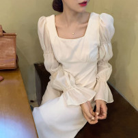Dress Autumn 2020 Off white Average size longuette singleton  Long sleeves commute square neck High waist Solid color puff sleeve 18-24 years old Other / other Korean version