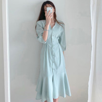 Dress Summer of 2019 Khaki, light blue S, M Miniskirt singleton  elbow sleeve commute V-neck Loose waist Solid color Single breasted other other Others 18-24 years old Type H Other / other 71% (inclusive) - 80% (inclusive) other cotton