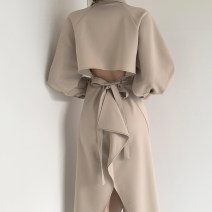Dress Autumn 2020 Khaki, black Average size longuette singleton  Long sleeves commute High waist Solid color Single breasted other other Others 18-24 years old Type H Other / other Korean version 51% (inclusive) - 70% (inclusive)
