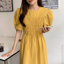 Dress Summer 2021 Sky blue, white, pink, green, yellow Average size Mid length dress singleton  Short sleeve commute Crew neck Solid color puff sleeve Others 18-24 years old Other / other Korean version