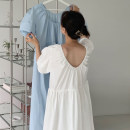 Dress Summer 2021 White, blue Average size longuette singleton  Short sleeve Crew neck High waist Solid color Socket Big swing puff sleeve 18-24 years old Other / other