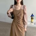 Dress Spring 2021 Black, khaki S, M Mid length dress Fake two pieces Long sleeves commute square neck Socket Irregular skirt puff sleeve Others 18-24 years old Other / other Korean version