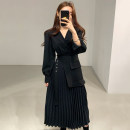 Dress Winter 2020 Apricot, black S,M,L Mid length dress singleton  Long sleeves commute V-neck High waist Socket Pleated skirt routine 18-24 years old Type A Other / other Korean version 51% (inclusive) - 70% (inclusive)