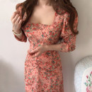 Dress Spring 2021 Orange, pink S, M longuette singleton  Long sleeves commute square neck High waist Broken flowers other other routine 18-24 years old Other / other Korean version 51% (inclusive) - 70% (inclusive)