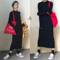 Dress Autumn of 2019 Average size longuette singleton  Long sleeves stand collar Loose waist Solid color Socket other routine 18-24 years old Type H Other / other knitting