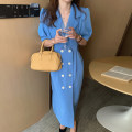 Dress Summer 2021 Green, blue, black Average size longuette singleton  Short sleeve tailored collar High waist Solid color double-breasted other other Others 18-24 years old Other / other 81% (inclusive) - 90% (inclusive)