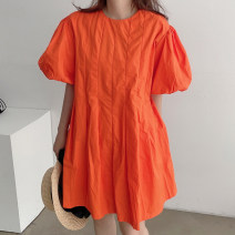 Dress Summer 2021 Black, orange Average size Short skirt singleton  Short sleeve Crew neck Loose waist Solid color Socket other puff sleeve 18-24 years old Other / other