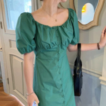 Dress Summer 2021 Sky blue, white, green, yellow Average size longuette singleton  Short sleeve commute square neck Solid color Single breasted puff sleeve Others 18-24 years old Other / other
