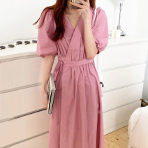 Dress Spring 2020 Malachite blue, lemon yellow, white, raspberry powder Average size longuette singleton  Short sleeve commute V-neck High waist Solid color other Big swing puff sleeve 18-24 years old Other / other Korean version