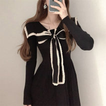 Dress Winter 2020 Apricot, black Average size Mid length dress singleton  Long sleeves commute Admiral High waist Socket Pleated skirt routine 18-24 years old Type A Other / other Korean version 51% (inclusive) - 70% (inclusive)