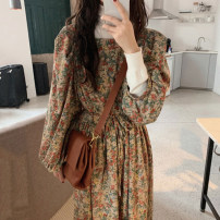 Dress Winter 2020 Picture color Average size longuette singleton  Long sleeves commute square neck 18-24 years old Other / other Korean version