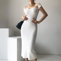 Dress Summer 2021 White, black Average size Mid length dress singleton  Short sleeve commute square neck Solid color Others 18-24 years old Other / other Korean version 31% (inclusive) - 50% (inclusive)