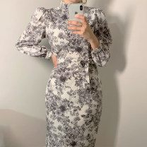 Dress Spring 2021 White, black S,M,L longuette singleton  Long sleeves commute stand collar High waist Decor Socket puff sleeve Others 25-29 years old Other / other Korean version Chiffon