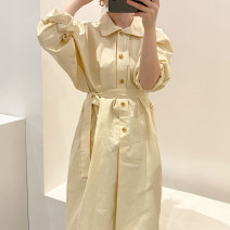 Dress Autumn 2020 Khaki, beige Average size longuette singleton  Long sleeves commute Solid color Single breasted 18-24 years old Other / other Korean version