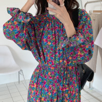Dress Summer 2021 Decor Average size Mid length dress singleton  Long sleeves commute stand collar High waist Decor pagoda sleeve Others 18-24 years old Type A Other / other Korean version 51% (inclusive) - 70% (inclusive) Chiffon