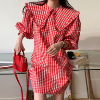 Dress Spring 2021 Red, black Average size Mid length dress Long sleeves 18-24 years old