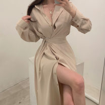 Dress Spring 2021 Apricot, light green, black S,M,L longuette singleton  Long sleeves commute Polo collar Solid color Single breasted routine Others 18-24 years old Other / other Korean version