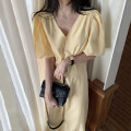 Dress Summer 2021 Yellow, black Average size longuette singleton  Short sleeve commute V-neck High waist Solid color zipper A-line skirt puff sleeve Others 18-24 years old Type A Other / other Korean version 51% (inclusive) - 70% (inclusive) other other
