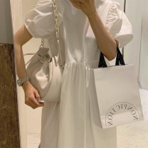 Dress Summer 2021 White, black Average size longuette singleton  Short sleeve commute Crew neck puff sleeve 18-24 years old Other / other Korean version 51% (inclusive) - 70% (inclusive)