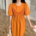 Dress Summer 2021 Average size longuette singleton  Short sleeve commute Crew neck Loose waist Solid color puff sleeve Others 18-24 years old Other / other Korean version