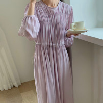 Dress Spring 2021 White, purple Average size longuette Long sleeves commute Crew neck puff sleeve 18-24 years old Other / other Korean version 51% (inclusive) - 70% (inclusive)