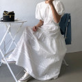Dress Summer 2020 M, L longuette singleton  Short sleeve commute Crew neck High waist Solid color Big swing puff sleeve 18-24 years old Other / other Korean version