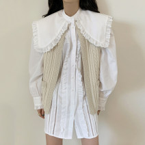 Dress Autumn 2020 White shirt, knitted vest Average size Mid length dress Two piece set Long sleeves commute Solid color Single breasted Others 18-24 years old Other / other Korean version