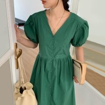 Dress Summer 2021 Green, denim, flax Average size longuette singleton  Short sleeve commute V-neck Solid color Single breasted puff sleeve Others 18-24 years old Other / other Korean version