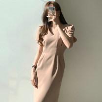 Dress Summer 2020 Khaki, black S,M,L Mid length dress singleton  Short sleeve commute V-neck High waist Solid color zipper Pencil skirt routine 18-24 years old Other / other Korean version