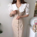 Dress Spring 2021 Apricot, black S, M Mid length dress singleton  Short sleeve commute other High waist Solid color Single breasted Pencil skirt puff sleeve Others 18-24 years old Type A Other / other Korean version fungus 51% (inclusive) - 70% (inclusive) other other