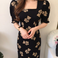 Dress Summer 2021 Picture color S,M,L longuette singleton  Short sleeve commute square neck High waist Cartoon animation Socket puff sleeve Others 18-24 years old Type A Korean version More than 95%