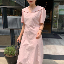Dress Summer 2021 Lotus root Pink S, M Mid length dress singleton  Short sleeve commute Doll Collar High waist Solid color other other puff sleeve 18-24 years old Other / other Korean version