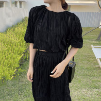 Fashion suit Summer 2021 Other / other Black top, black skirt, apricot top, apricot skirt One size fits all