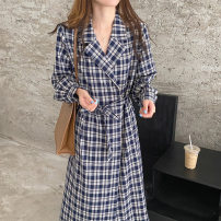 Dress Autumn 2020 Blue, yellow Average size Mid length dress singleton  Long sleeves commute tailored collar lattice Others 18-24 years old Other / other