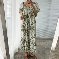 Dress Summer 2020 Green, blue Average size longuette singleton  Short sleeve commute square neck Loose waist Decor Socket Ruffle Skirt Flying sleeve Others 18-24 years old Type H Other / other Korean version Ruffle, print 71% (inclusive) - 80% (inclusive)