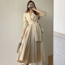 Dress Spring 2021 Khaki, white Average size longuette singleton  Long sleeves commute Polo collar High waist zipper A-line skirt other Others 18-24 years old Type A Other / other Korean version Splicing 51% (inclusive) - 70% (inclusive) brocade other