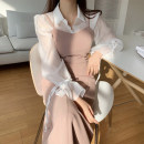 Dress Autumn 2020 Shirt, sling Average size longuette Two piece set Sleeveless commute High waist Solid color 18-24 years old Other / other Korean version