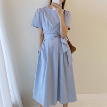Dress Spring 2021 Light yellow, blue, black Average size longuette singleton  Short sleeve commute Crew neck Loose waist other other routine Others 18-24 years old Other / other Korean version 51% (inclusive) - 70% (inclusive)