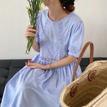 Dress Summer 2021 Apricot, blue Average size Mid length dress singleton  Short sleeve commute Crew neck Solid color Big swing puff sleeve Others 18-24 years old Other / other Korean version