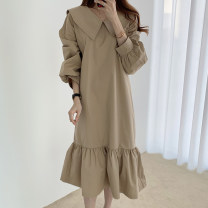 Dress Winter 2020 Black, khaki Average size longuette singleton  Long sleeves commute Crew neck Loose waist Solid color Socket Ruffle Skirt routine 18-24 years old Type A Lotus leaf edge cotton
