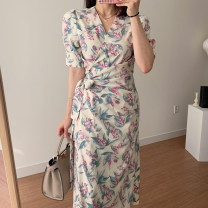 Dress Summer 2021 White, black Average size longuette singleton  Short sleeve commute other Loose waist other other routine Others 18-24 years old Other / other Korean version printing 81% (inclusive) - 90% (inclusive) brocade cotton