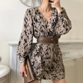 Dress Winter 2020 Beige Average size Mid length dress singleton  Long sleeves V-neck High waist Leopard Print other other puff sleeve 25-29 years old Other / other