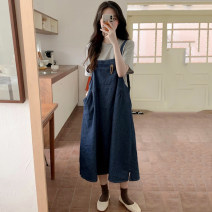 Fashion suit Summer of 2019 Average size Grey T, denim skirt 18-25 years old