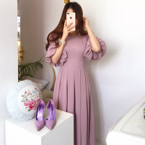 Dress Summer 2020 Apricot, lotus root Pink S,M,L Mid length dress singleton  Short sleeve commute Crew neck High waist Solid color Pleated skirt bishop sleeve 18-24 years old Other / other Korean version