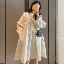 Dress Summer 2021 white Average size Middle-skirt singleton  Long sleeves commute Crew neck Solid color puff sleeve Others 18-24 years old Other / other Korean version