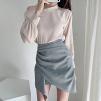 Fashion suit Autumn of 2019 Average size Black skirt s, Black Skirt M, grey blue skirt s, grey blue skirt m, white shirt, beige shirt 18-25 years old Other / other